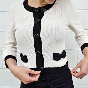 Vintage Black-and-White Cardigan